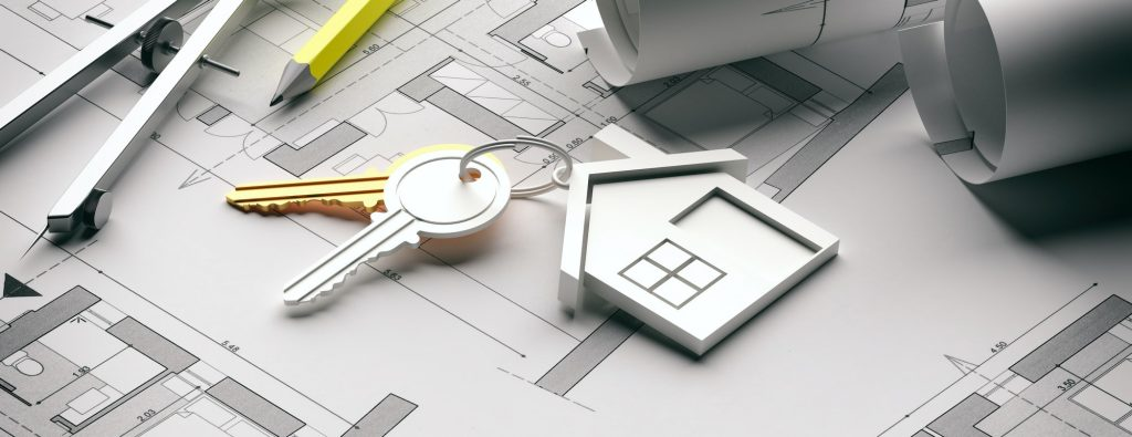Houme keys and blueprint plans, banner. 3d illustration
